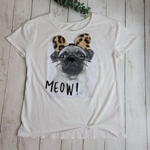 "Justice GIRLS ""Meow"" Pug Top"